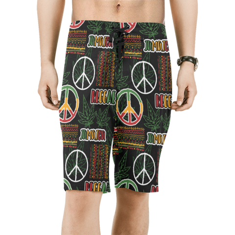Jamaica Men's All Over Print Beach Shorts 01 H9