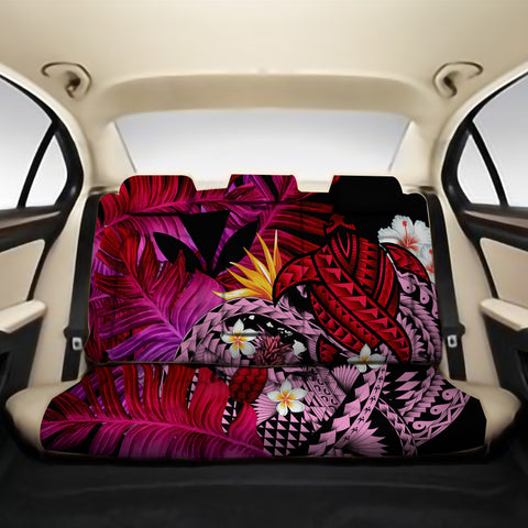 Kanaka Maoli (Hawaiian) Back Car Seat Covers - Polynesian Pineapple Banana Leaves Turtle Tattoo Pink A02