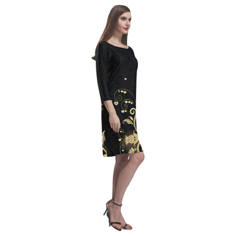 Scottish Golden Thistle Rhea Loose Round Neck Dress | HOT Sale