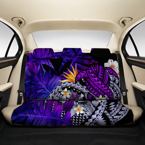 Kanaka Maoli (Hawaiian) Back Car Seat Covers - Polynesian Pineapple Banana Leaves Turtle Tattoo Purple A02