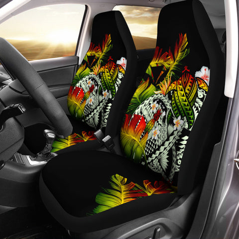 Kanaka Maoli (Hawaiian) Car Seat Cover, Polynesian Pineapple Banana Leaves Turtle Tattoo Reggae