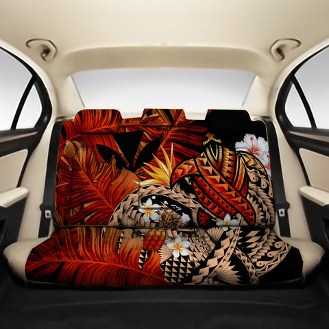 Kanaka Maoli (Hawaiian) Back Car Seat Covers - Polynesian Pineapple Banana Leaves Turtle Tattoo Red A02