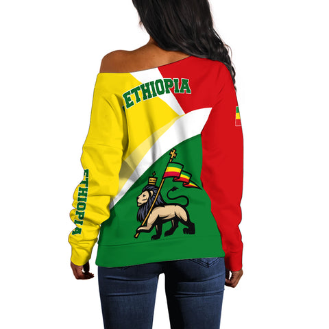 1stTheWorld Ethiopia Off Shoulder Sweater, Ethiopia Flag Maps Green A10