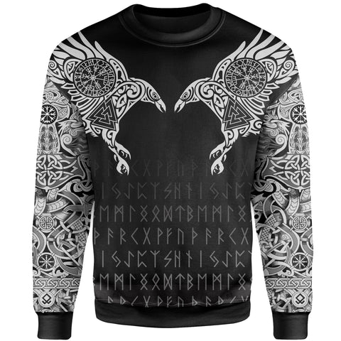 Image of Vikings Sweatshirt The Raven Of Odin Tattoo A7
