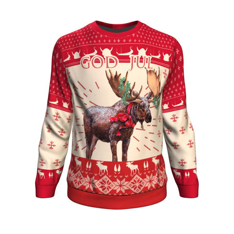 Christmas Moose Norway™ Sweatshirt by 1sttheworld - Front for Men and Women