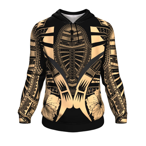 Polynesian Tattoo Hoodie Hibiscus Gold - Front