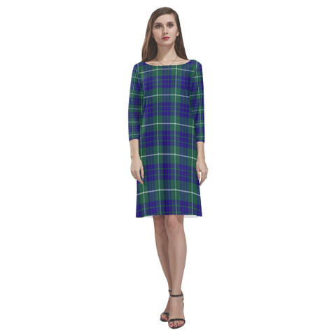 Image of Tartan dresses - Hamilton Hunting Modern Tartan Dress - Round Neck Dress NN5