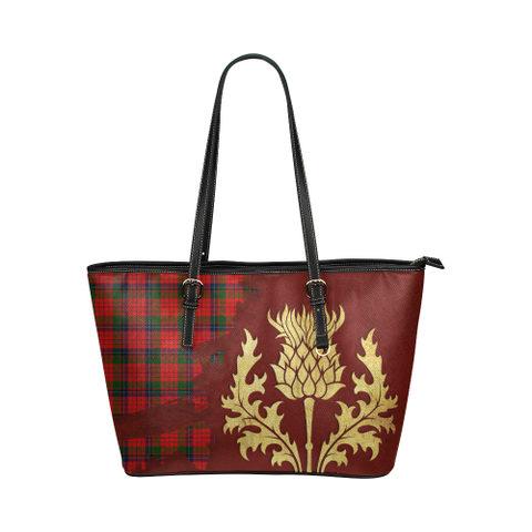 Nicolson Modern Tartan - Thistle Royal Leather Tote Bag