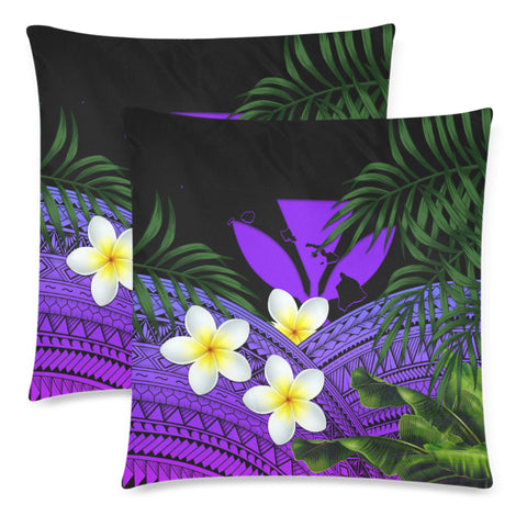 Kanaka Maoli (Hawaiian) Pillow Cases, Polynesian Plumeria Banana Leaves Purple | Love The World