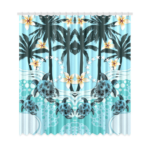 Cook Islands Window Curtain - Blue Turtle Hibiscus A24