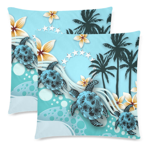 Cook Islands Pillow Cases - Blue Turtle Hibiscus A24