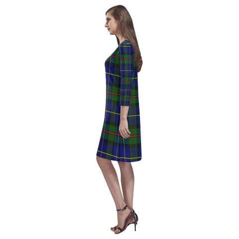 Macleod Of Harris Modern Tartan Dress - Rhea Loose Round Neck Dress NN5