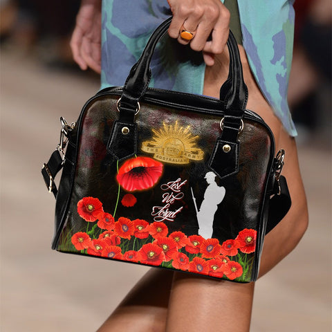 Image of 1stTheworld Anzac Shoulder Handbag - Remembrance Poppy Flowers