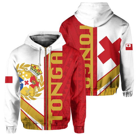 Kingdom of Tonga Zip Hoodie - Half Concept | Clothing | 1sttheworld