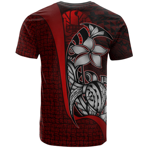 Tahiti Polynesian T-Shirt Red - Turtle with Hook