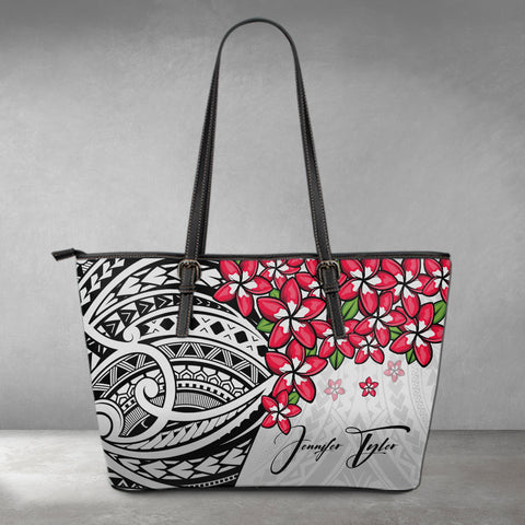 (Custom) Polynesian Leather Tote - Polynersian Plumeria Gray Personal Signature A24