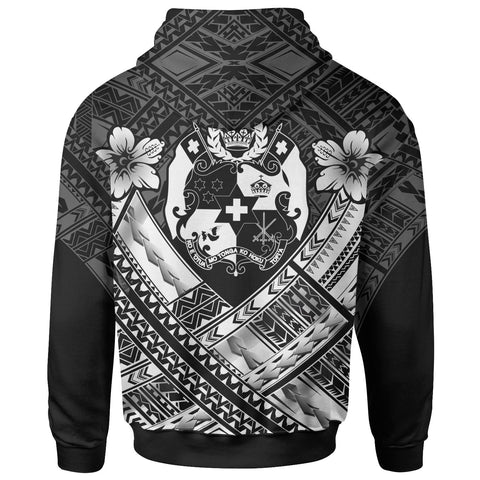 Image of Tonga Custom Polynesian  Zip-Up Hoodie - Tonga White Seal Camisole Hibiscus Style