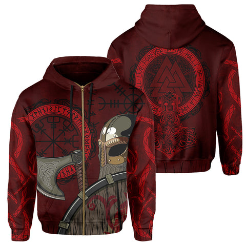 Viking Zip Hoodie - Viking Warrior | Clothing | 1sttheworld