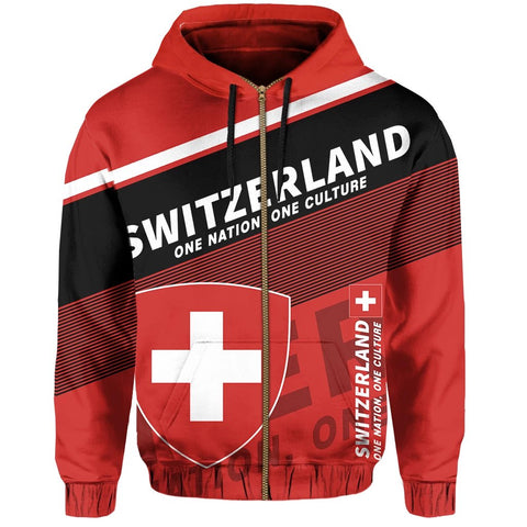 Switzerland Zip Hoodie Flag Motto  - Limited Style