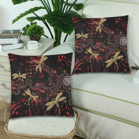 Australia Aboriginal Zippered Pillow Cases With Dragonfly In Wonderful Land