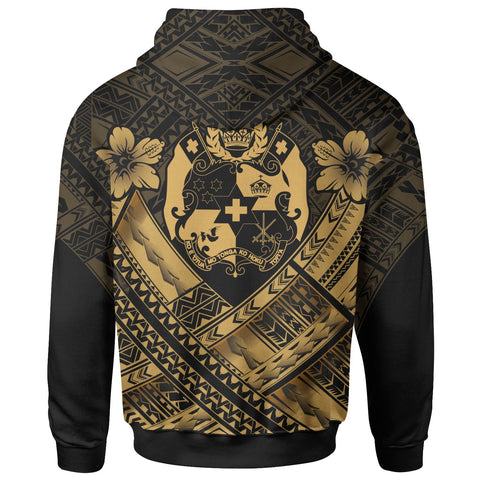 Image of Tonga Custom Polynesian  Zip-Up Hoodie - Tonga Gold Seal Camisole Hibiscus Style
