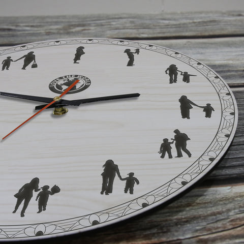 Mother And Son Wooden Wall Clock