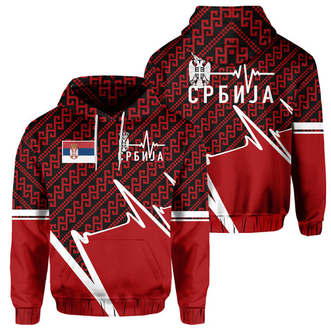 Serbia Hoodie - Србија In My Heartbeat | Clothing | 1sttheworld