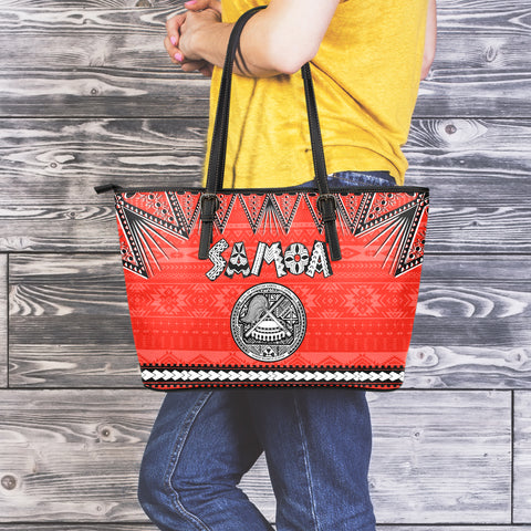 Seal of American Samoa Large Leather Tote Bag