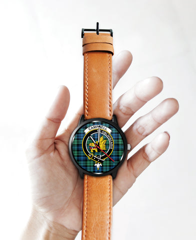 Campbell Ancient 01 Clan Badge Tartan Leather/Steel Watch - BN