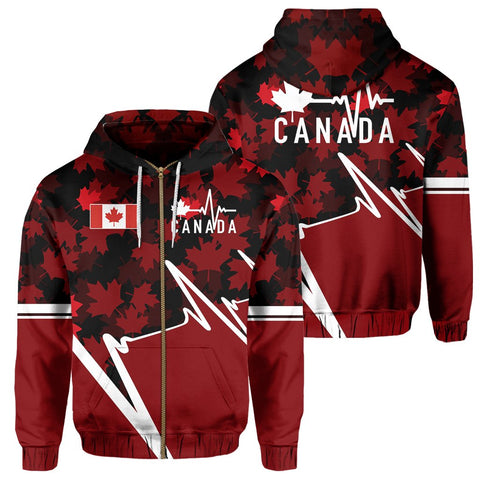 Canada Zip Hoodie - Canada In My Heartbeat | Clothing | 1sttheworld