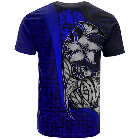 Image of Tahiti Polynesian T-Shirt Blue - Turtle with Hook