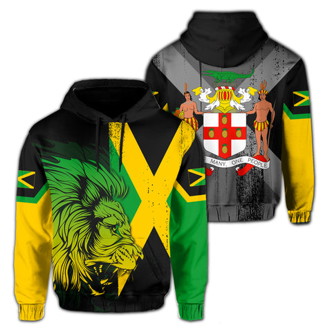 Jamaica Lion Flag And Coat Of Arm Hoodie - J4