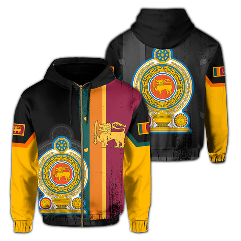Sri Lanka Coat Of Arm Flag Hoodie(Zip-up) - AH - J4