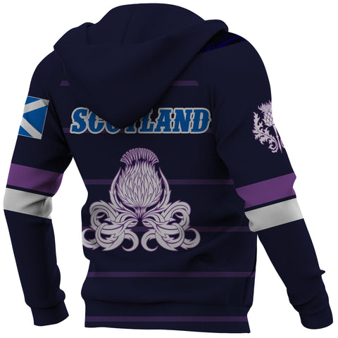 Scotland Lion Rampant with Thistle Hoodie - Rugby Style back