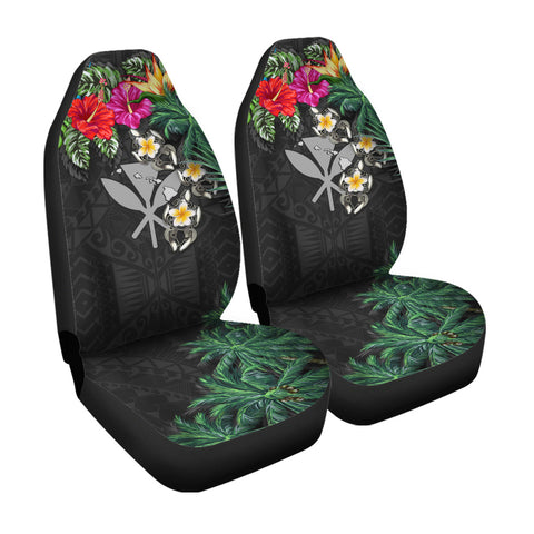 Kanaka Maoli (Hawaiian) Car Seat Covers - Hibiscus Turtle Tattoo Gray A02