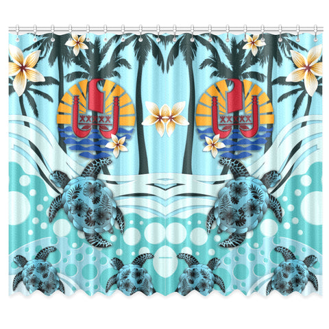 Image of Tahiti Window Curtain - Blue Turtle Hibiscus | Love The World