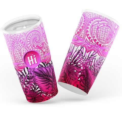 Kanaka Maoli (Hawaiian) Tumbler, Map Polynesian Palm Leaves Hibiscus Plumeria Flowers (Pink) | Love The World