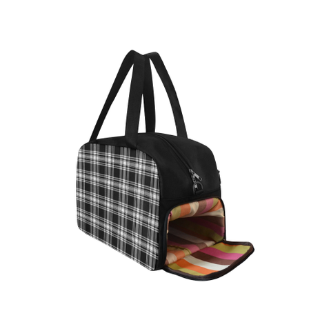 Image of Menzies Black & White Modern Tartan Fitness Bag | Sport Bags | Scotland Bag