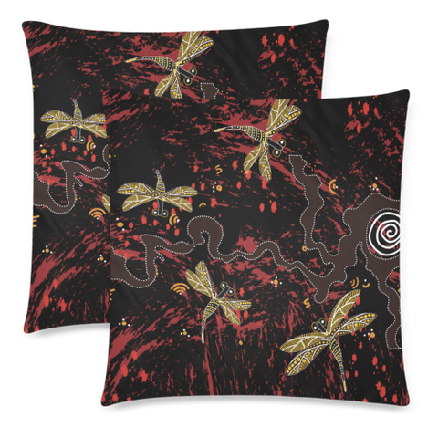 Image of Australia Aboriginal Pillow Covers Dragonfly NN9