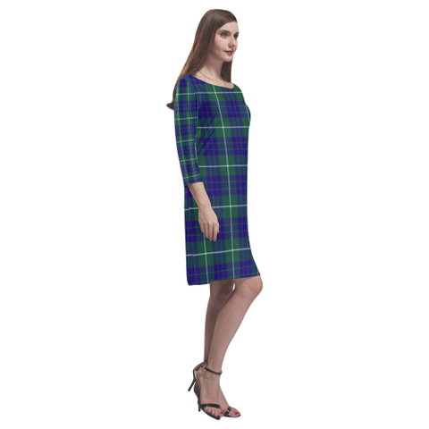 Image of Tartan dresses - Hamilton Hunting Modern Tartan Dress - Round Neck Dress - BN