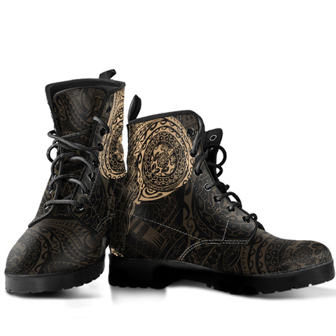 Polynesian Tattoo Style Leather Boots A7