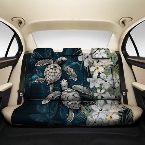 Kanaka Maoli (Hawaiian) Back Car Seat Covers - Sea Turtle Tropical Hibiscus And Plumeria White A24