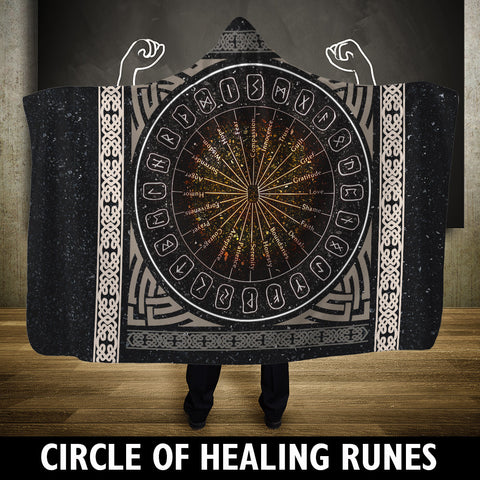 Viking Hooded Blanket - A Circle Of Healing Runes | Hot Sale