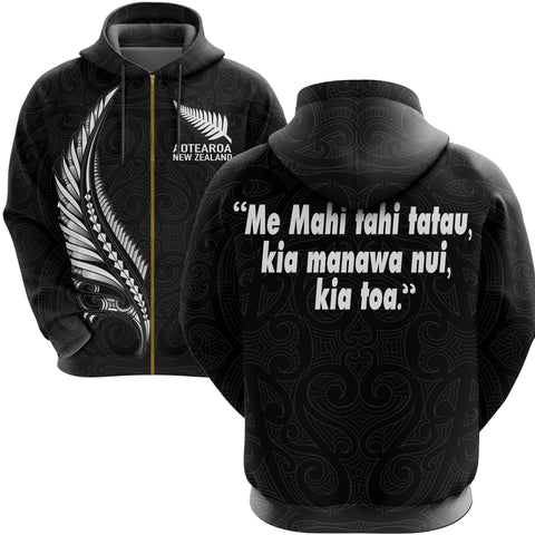 New Zealand Zip Hoodie - Maori Fern Tattoo Spirit and Heart We Are Strong A7