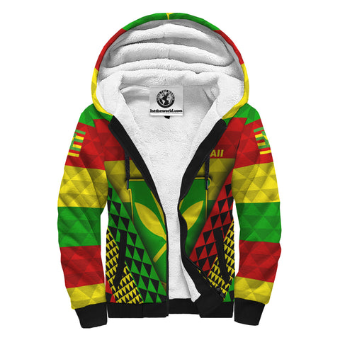 Image of Hawaii Kanaka Maoli Flag Sherpa Hoodie | Men & Women | Clothing