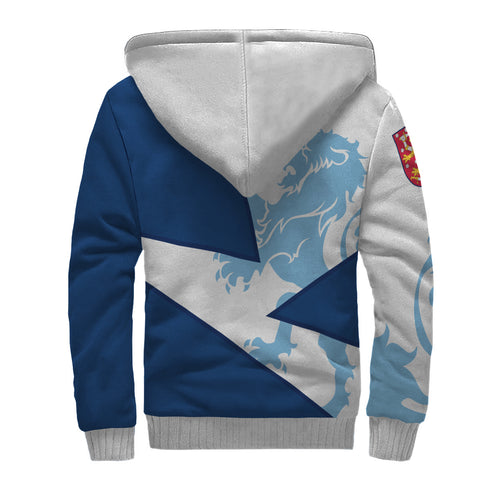 Finland Sherpa Hoodie - Finish Royal Lion 1990s - White and Blue - Back - For Men and Women