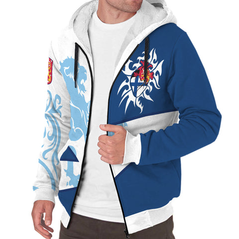 Finland Sherpa Hoodie - Finish Royal Lion 1990s - White and Blue - Front - For Men and Women