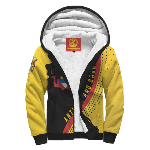 Antigua and Barbuda Sherpa Hoodie - Antigua and Barbuda Map Generation II Sherpa Hoodie - Yellow and Black - Front - For Men and Women