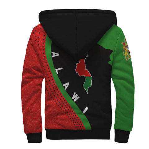 Malawi Sherpa Hoodie - Malawi Map Generation II Sherpa Hoodie - Red and Green - Back - For Men and Women