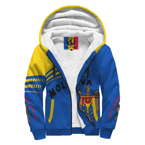 Moldova Sherpa Hoodie - Winner Ultra Edition II - Blue Yellow - Front - For Men and Women